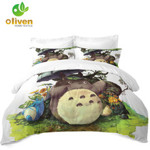 цена Cartoon Totoro Bedding Set Umbrella Print Duvet Cover Set Kids Colorful Bed Cover Twin King Queen Quilt Cover Pillowcase D35 в интернет-магазинах