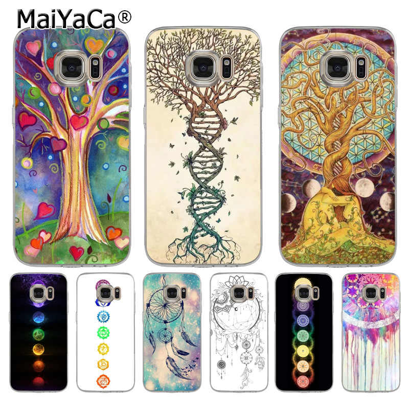 MaiYaCa dream catcher mandala chakra ยืนยัน yoga โทรศัพท์กรณีสำหรับ samsung galaxy s8 s7 edge s6 edge plus s5 s9 case