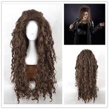 Filme personagem bellatrix lestrange longo marrom ondulado perucas sintéticas resistente ao calor cosplay traje peruca