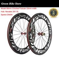 Superteam 탄소 도로 wheelset 관형 88mm clincher 탄소 바퀴 슈퍼 라이트 291 허브 탄소 자전거 바퀴