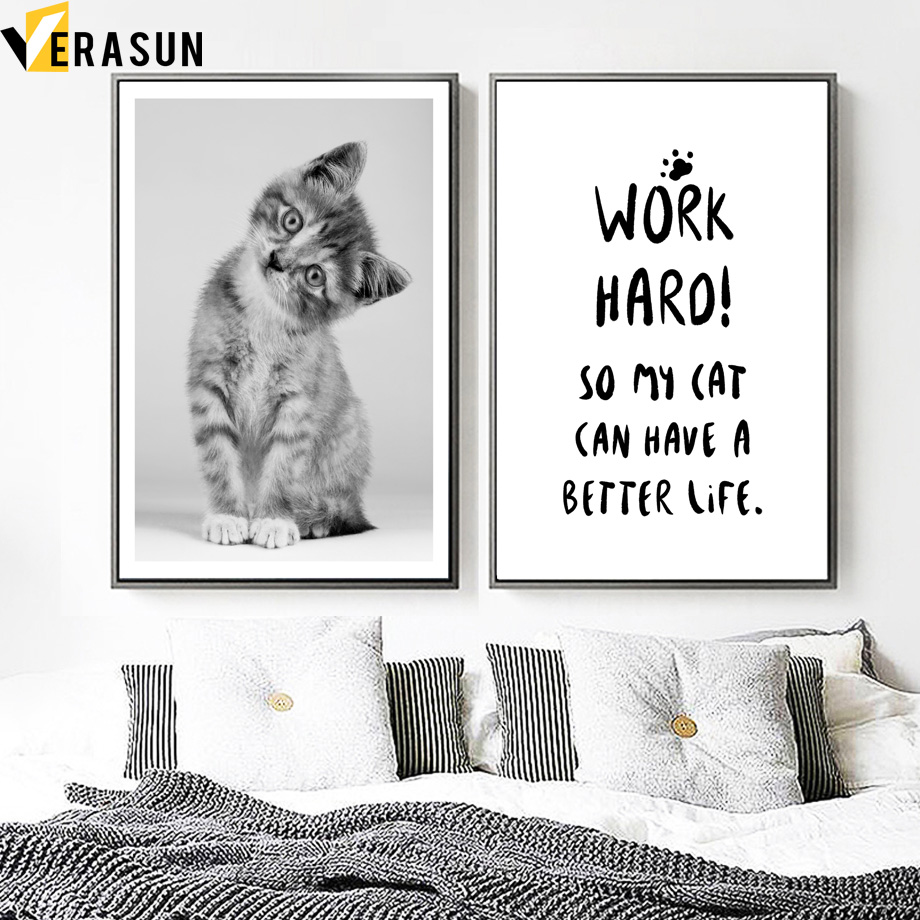 Cute Cat Quotes Wall Art Print Canvas Painting Nordic Canvas Posters And Prints Animal Wall Pictures For Living Room Home Decor in Painting Calligraphy from Home Garden