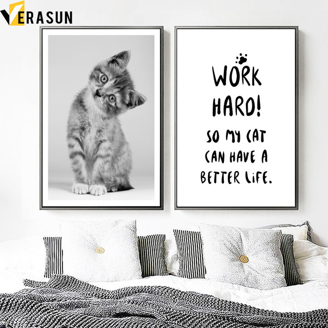 VERASUN Cute Cat Quote Canvas Painting Nordic Poster Black And White Wall Art Posters And Prints Wall Pictures For Living Room