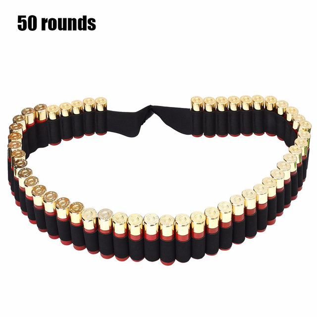 Tactical 25/50 Rounds Ammo Holder Cartridge Belt 12Gauge Bullet Belt Airsoft Hunting Shotgun Shell Bandolier Waist Belt 4