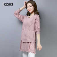 XJXKS Pullover Women Long Sweaters Lace Patchwork Casual Fake Two Pieces Sweater Dress Pull Femme Sweater With Pocket