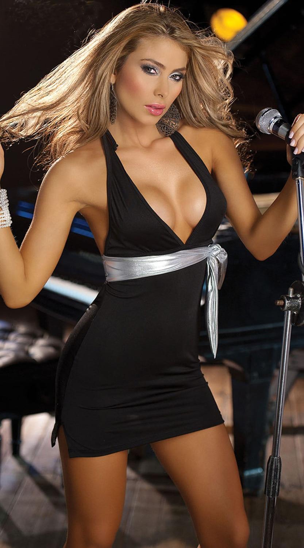 12 Off Pretty Women Halter Club Dress Sexy Deep V Gilt Babydoll Nightwear Ktv Dance -4706