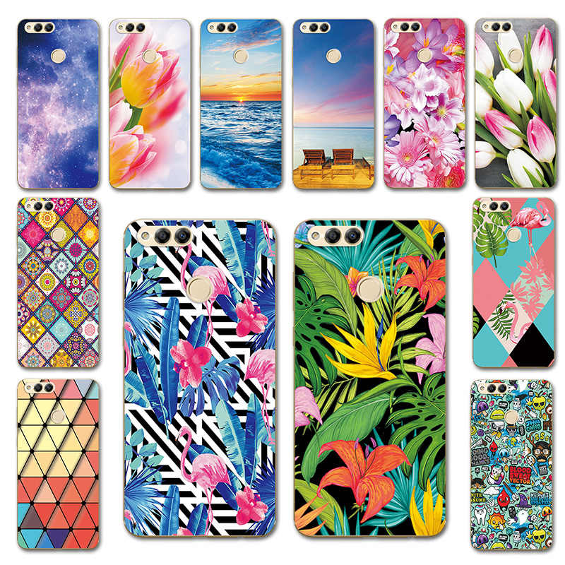 Phone Bags For Huawei Honor 8A 8C 8X 7X Case Cover Tulip Painted Case Soft Shell 7S 8S 7A Color Heart For Huawei Honor 6C 6A 6X
