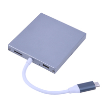 VAKIND Gray Aluminum Alloy 4 Ports 5Gbps USB 3.1 Type-C HUB To M.2 NGFF SSD Enclosure 7.8*73*10cm With Cable 13cm