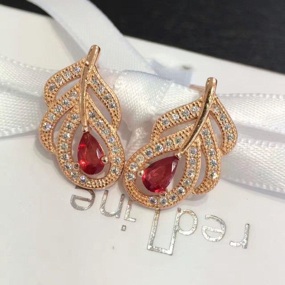 Boucles d'oreilles Qi xuan_livraison gratuite pierre rouge élégant plumes boucles d'oreilles _ couleur or rose mode boucles d'oreilles _ fabricant directement ventes