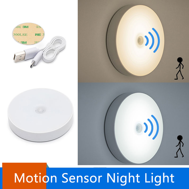6 LEDs Motion Sensor Night Light  Auto On/Off Wireless Wall Lamp Magnet USB Rechargeable For Bedroom Stairs Cabinet Wardrobe