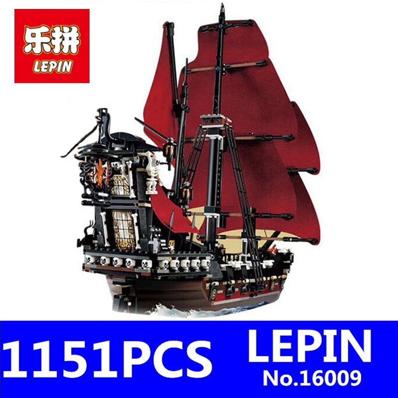 Caribbean Queen Anne's Reveage Model LEPIN 16009 1151Pcs Pirates Of Kids Educational Building Blocks Brick Children Toys Gift dhl lepin 22001 imperial warships 16009 queen anne s revenge model building blocks for children pirates toys clone 10210 4195