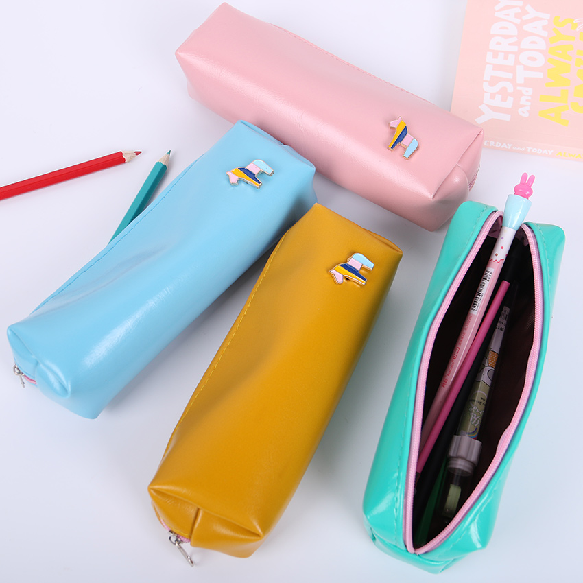 1pcs Kawaii PU Leather Horse Pencil Case School Supplies Stationery Gift Students Cute Candy Color Storage Pencilcase  Пенал