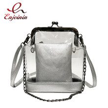 ba1fa0daaef72 Silber   Schwarz Transparent PVC Mode Junges Mädchen Casual Schulter Tasche  Tote Crossbody Mini Messenger Tasche Handtasche Dame.