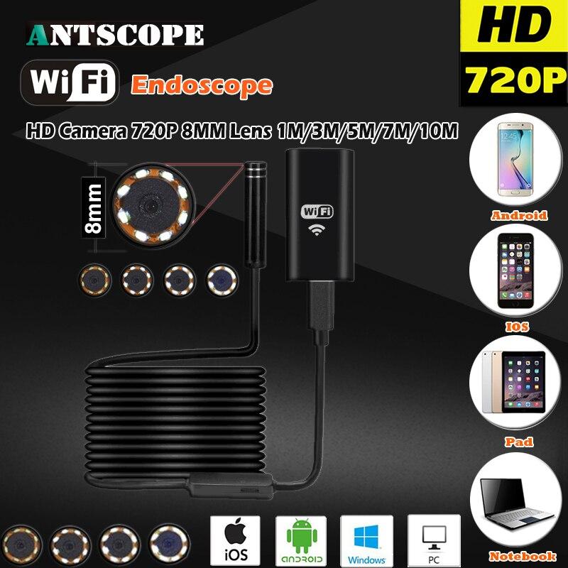 8 MM OD 2MP 8LED HD720P Wifi Endoscop Android USB IOS Endoscope Caméra Flexible Dur Fil Tube Câble Véhicule Tuyau D'inspection Cam