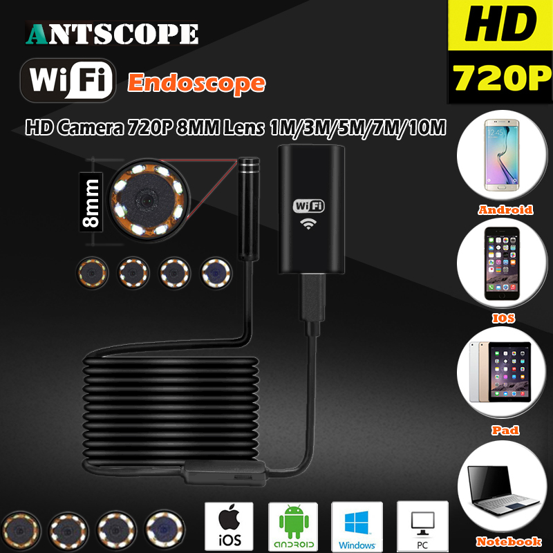 8MM OD 2MP 8LED HD720P Wifi Endoscop Android USB IOS Endoscope Camera Flexible Hard Wire Tube Cable Vehicle Pipe Inspection Cam