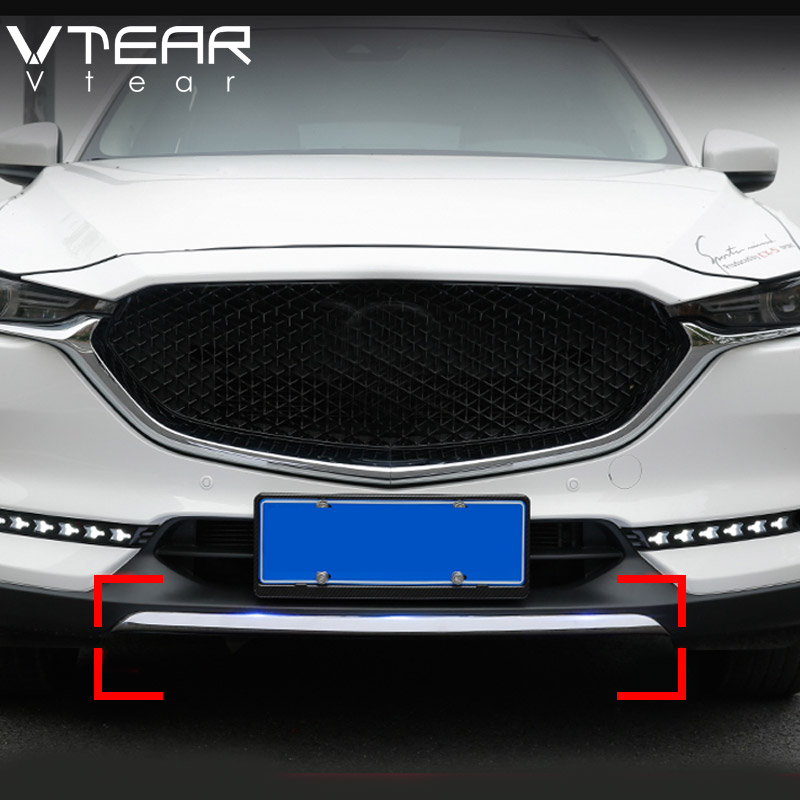 Vtear для Mazda CX5 CX-5 2017 2018 аксессуары из нержавеющей стали автомобилей Снаружи спереди губ бампера полосы отделка Хром Стайлинг