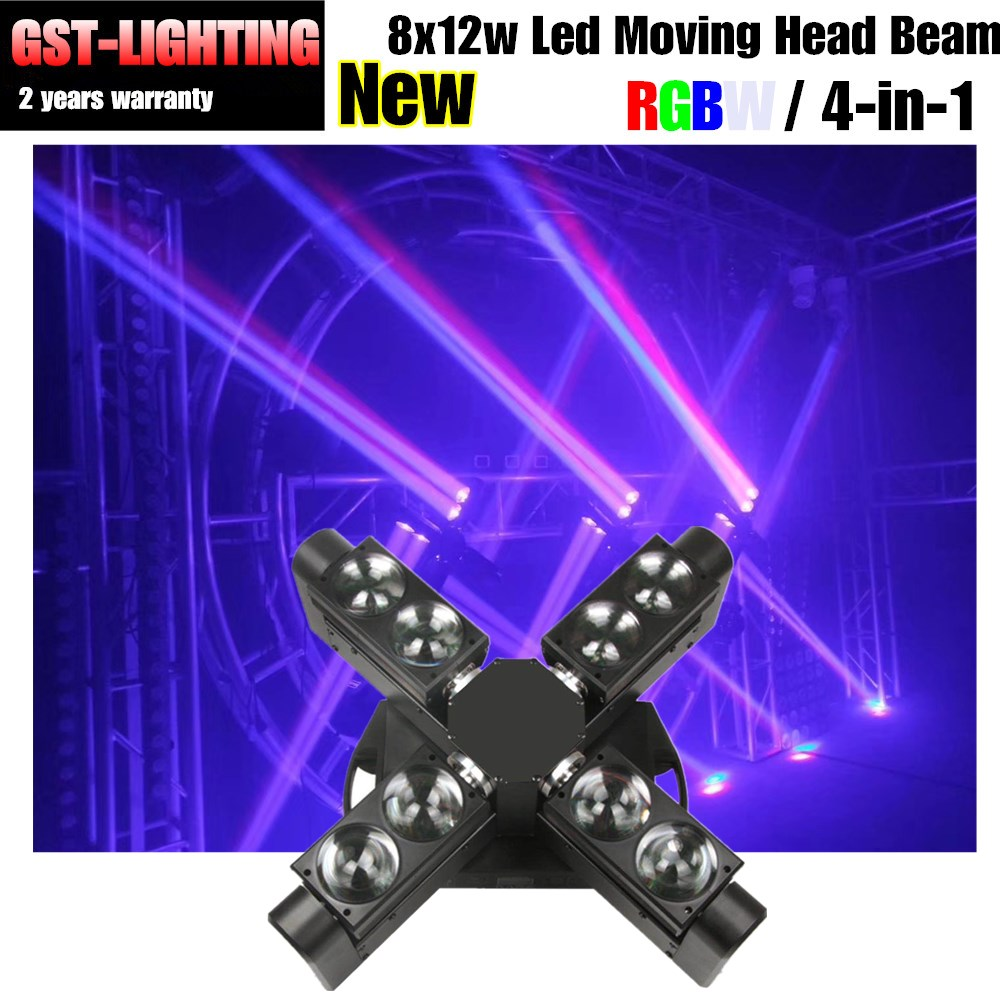 Dj light stand moving head 12w 8pcs rgbw led moving head spider beam