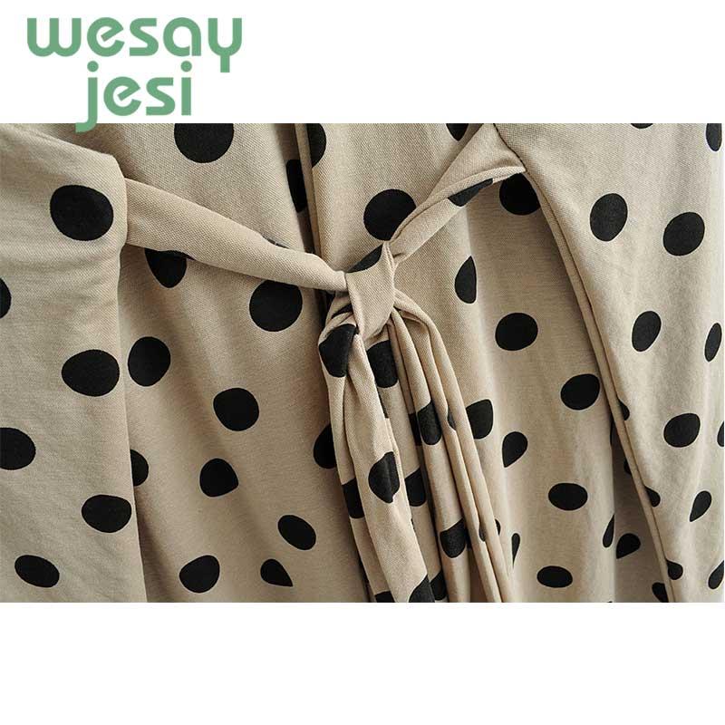 Women Summer Dress Dot Printing Sleeveless mid calf Dress Beach Lasy Clothing 2019 New chic Vintage Dress vestidos in Dresses from Women 39 s Clothing