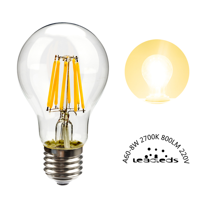 leadleds LED Filament bulb lamp E27 8W 120 220V A60 led edison dimmable 2700K Lampada Bombillas for living room decorative light