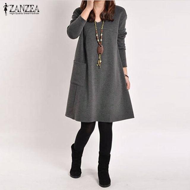 Vestidos 2017 Lente ZANZEA Vrouwen Vintage Lange Mouwen Pocket Jurk Dames Casual Losse Solid V-hals Jurken Plus Size