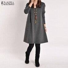 Vestidos 2020 Spring ZANZEA Women Vintage Long Sleeve Pocket Dress Ladies Casual Loose Solid V Neck