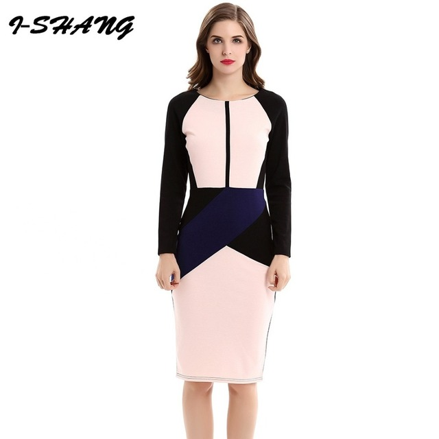 5db29e1e4 Good Quality 2017 Formal Business Office Ladies Work Dress Women Patchwork  Elegant Bodycon Pencil Midi Dress Plus Size D55-8