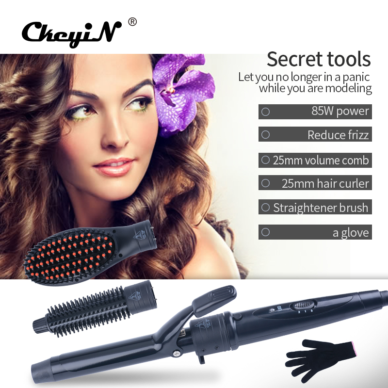 CkeyiN Multifunction 3 In 1 Hair Styling Tool Set Hair Curler & Volume Comb & Hair Straightener Brush+1Pcs Heat Resistant Glove social housing in glasgow volume 2
