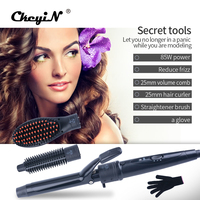 CkeyiN Multifunction 3 In 1 Hair Styling Tool Set Hair Curler Volume Comb Hair Straightener Brush