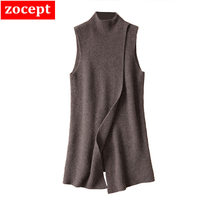 2019 Women's Angora Cashmere High O neck Thick Cape Long Vest Poncho Front Deep Slit Female Sleeveless Wrap Sweater Dress Winter