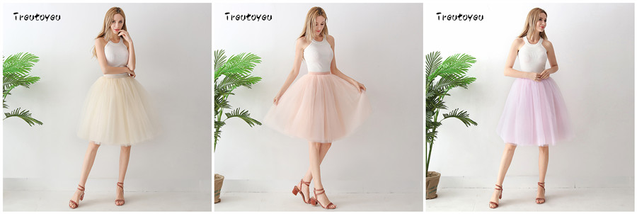 Streetwear 7 Layers 65cm Midi Pleated Skirt Women Gothic High Waist Tulle Skater Skirt rokjes dames ropa mujer 19 jupe femme 12
