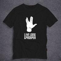 Live Long Prosper Star Trek T Shirt Mens Short Sleeve T Shirt O Neck Cotton T