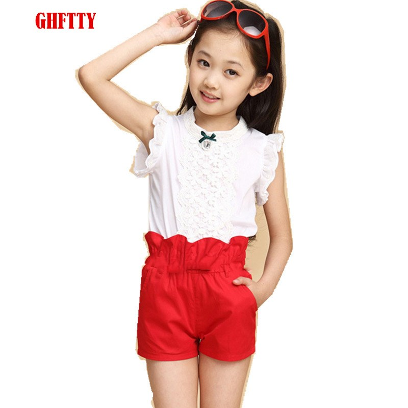 Baby Girls Clothes New Summer Fashion Girl Lace Shirt + Shorts Suit Is Suitable For Kids Child Clothing 5 To 13 Years Old baby girl clothes set fashion blue jean shirt cotton white lace shorts 2pcs girls clothes kid summer suit set