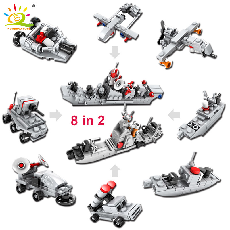 HUIQIBAO TOYS Military Building Blocks Bricks DIY Army World War Weapon Tank Helicopter Compatible With Legoed City For Children