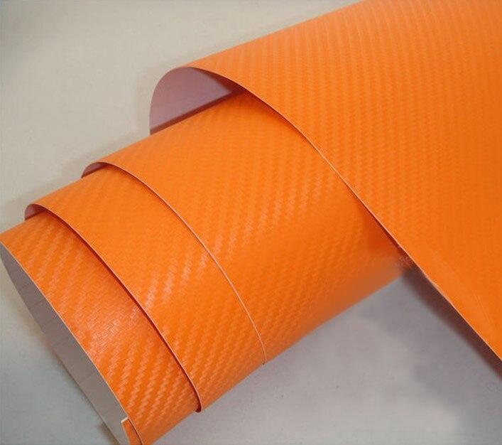 Высокое качество 3D виниловая наклейка из углеродного волокна для автомобиля 3D углеродная оберточная наклейка с воздушными пузырьками 1,52*5 м/рулон - Название цвета: orange