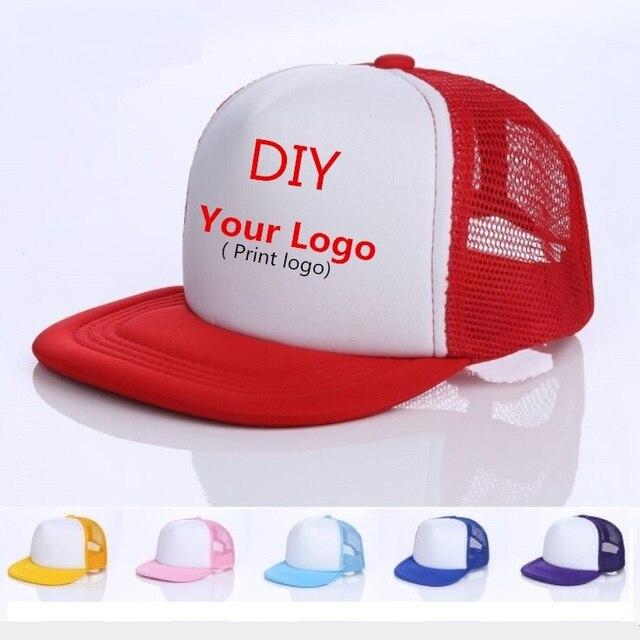 4c2d8e99852 Kids Breathable DIY printing Logo Baseball Caps Snapbacks Flat Custom Logo  Hats Trucker Caps Boy Girls Gorras For Team Child
