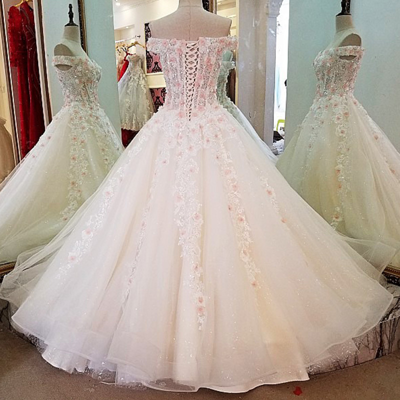 Backlake Lvory bride dresses with 3D pink flowers ball gown lace up back beading crystals abito da sposa real photos