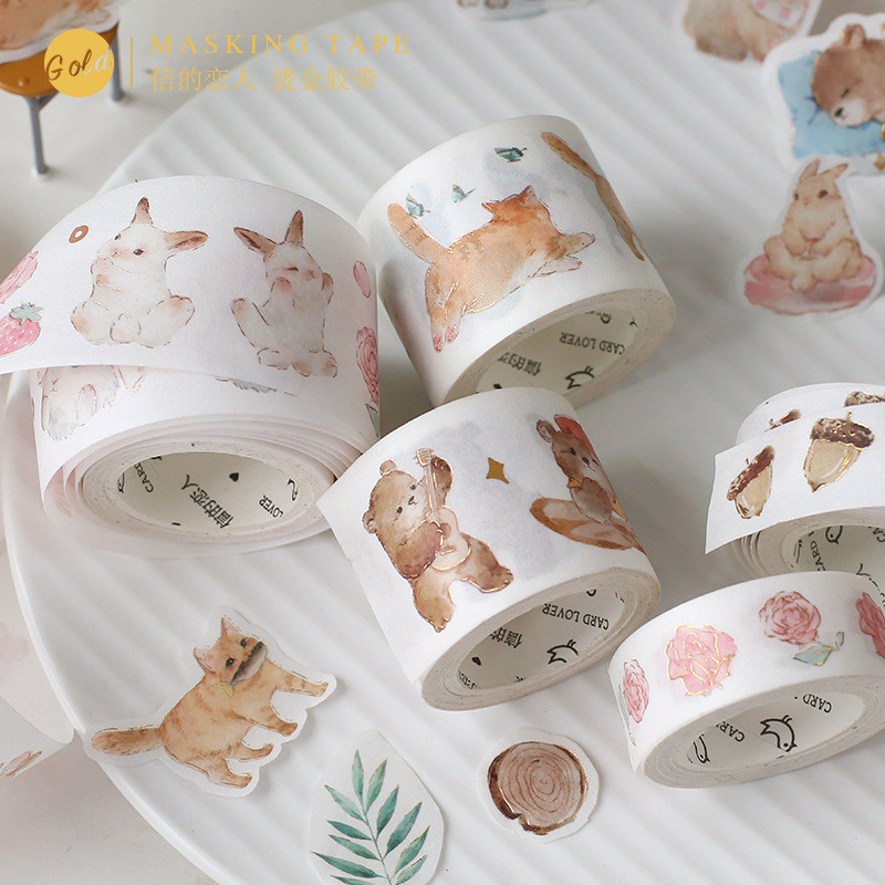 15/30mm Forest Animal Foil Masking Washi Tape Sticker Scrapbooking Cute Stationery DIY Journal Decorative Adhesive Tape Supplies