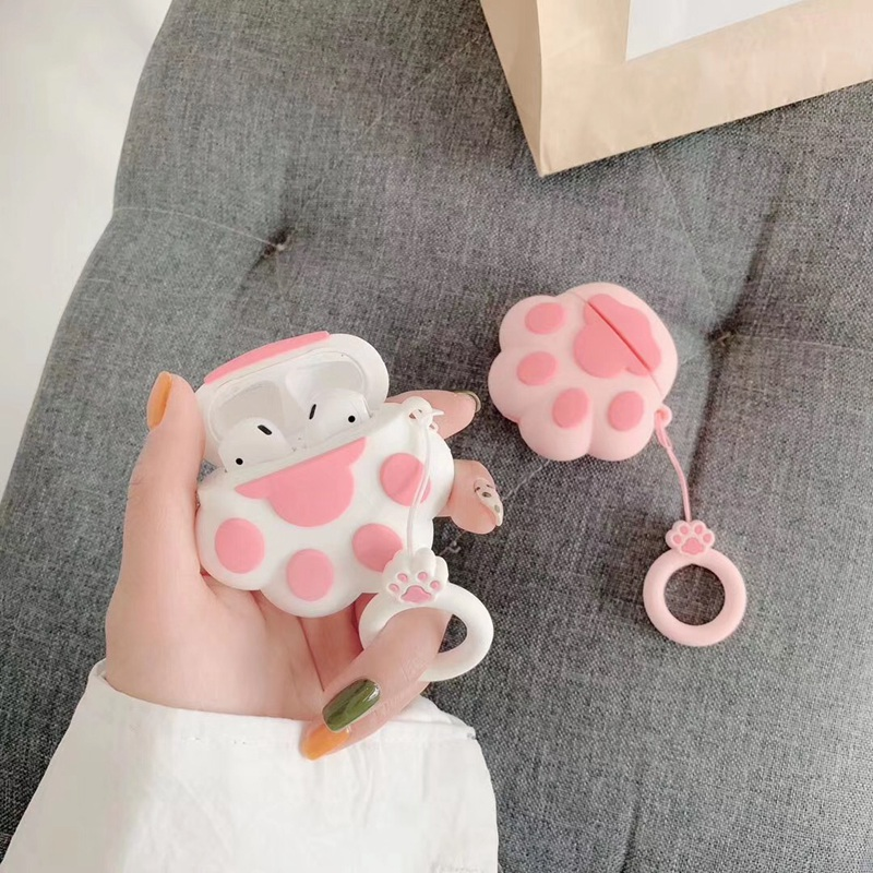 For Airpods Case Cute 3D Pink Cat Paw Funny Silicone Soft TPU Earphone Cases For Airpods Protection Cover Bag With Ring Strap