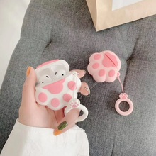 For Airpods Case Cute 3D Pink Cat Paw Funny Silicone Soft TPU Earphone Cases Protection Cover Bag With Ring Strap
