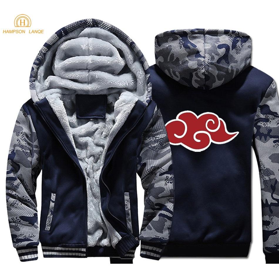 Japan Anime Naruto Akatsuki Red Cloud Hoodies Men 2019 Autumn Winter Male Thick Camouflage Jackets Warm Fleece Men's Sweatshirts