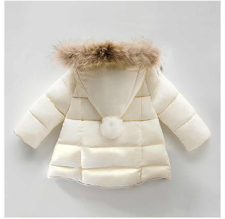 Baby Girl Winter Coat Children Thick Cotton Padded Jacket Toddler Kids Winter Real Fur Coat Very Cute Outerwear Baby Clothing