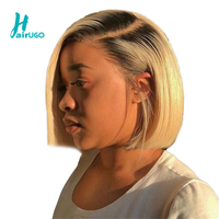 1B 613 Ombre Blonde Lace Front Human Hair Wigs For HairUGo Black Women Peruvian Short Bob Straight Frontal Wigs pre plucked Hair