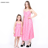 New family look mommy and me dress sleeveless mother daughter dresses matching family outfits lip pattern mom and girl clothes
