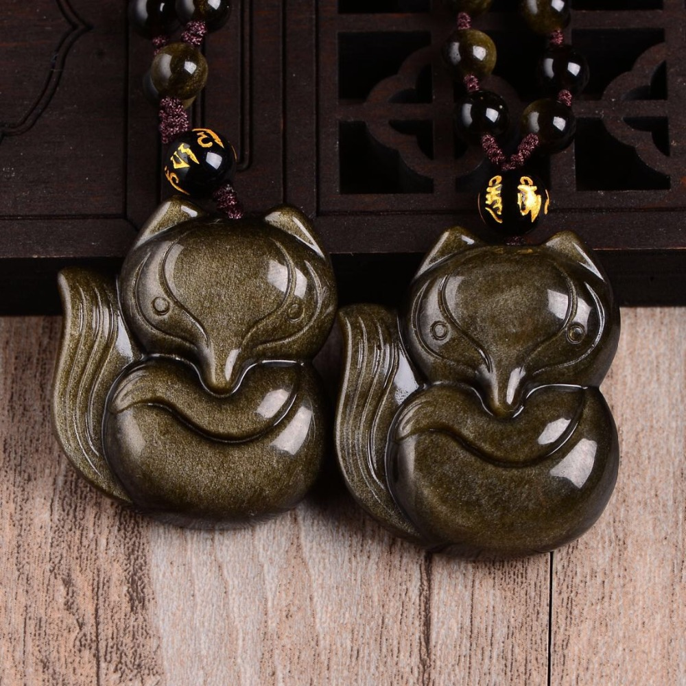 Free shipping Natural golden obsidian The fox necklace pendant with rope wholesale belgium culture smart