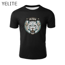 YELITE 2019 New Lion Lights Printing T Shirt Men Print T-shirt Summer Casual TShirt for Mens Short Sleeve Beach Tops streetwear