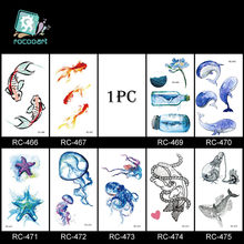 1pc Temporary Tattoo Sticker Waterproof Ocen Flower Feather Body Sternum Fake Tattoo Flash Stickers Tatoo Tatuajes Temporales p(China)