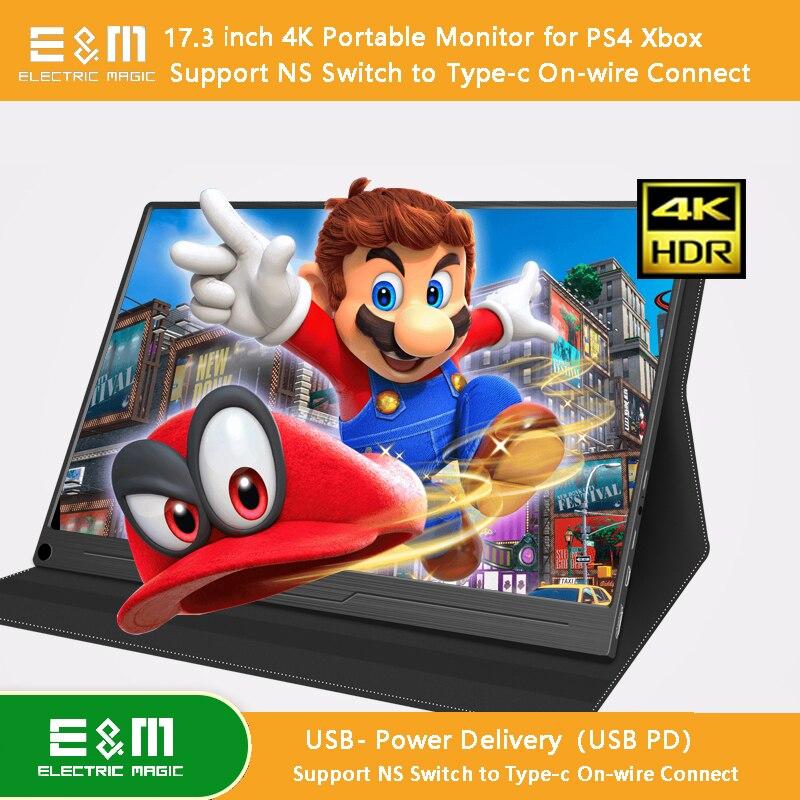 17.3 Pouces IPS 4 K 3840*2160 HDR écran portable USB PD Adobe RGB 100% IPS Affichage pour NS type de commutateur C Un Fil HDCP 2.2 Ps4 Xbox