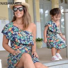NASHAKAITE/платья для мамы и дочки; мини-платье на одно плечо с принтом листьев для мамы и дочки; одежда «Мама и я»; семейный образ