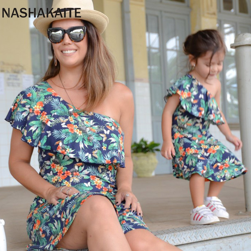 NASHAKAITE Mother Daughter Dresses Leaf Print One Shoulder Mini Dress Mom Daughter Dress Mommy Me Clothes Family Look