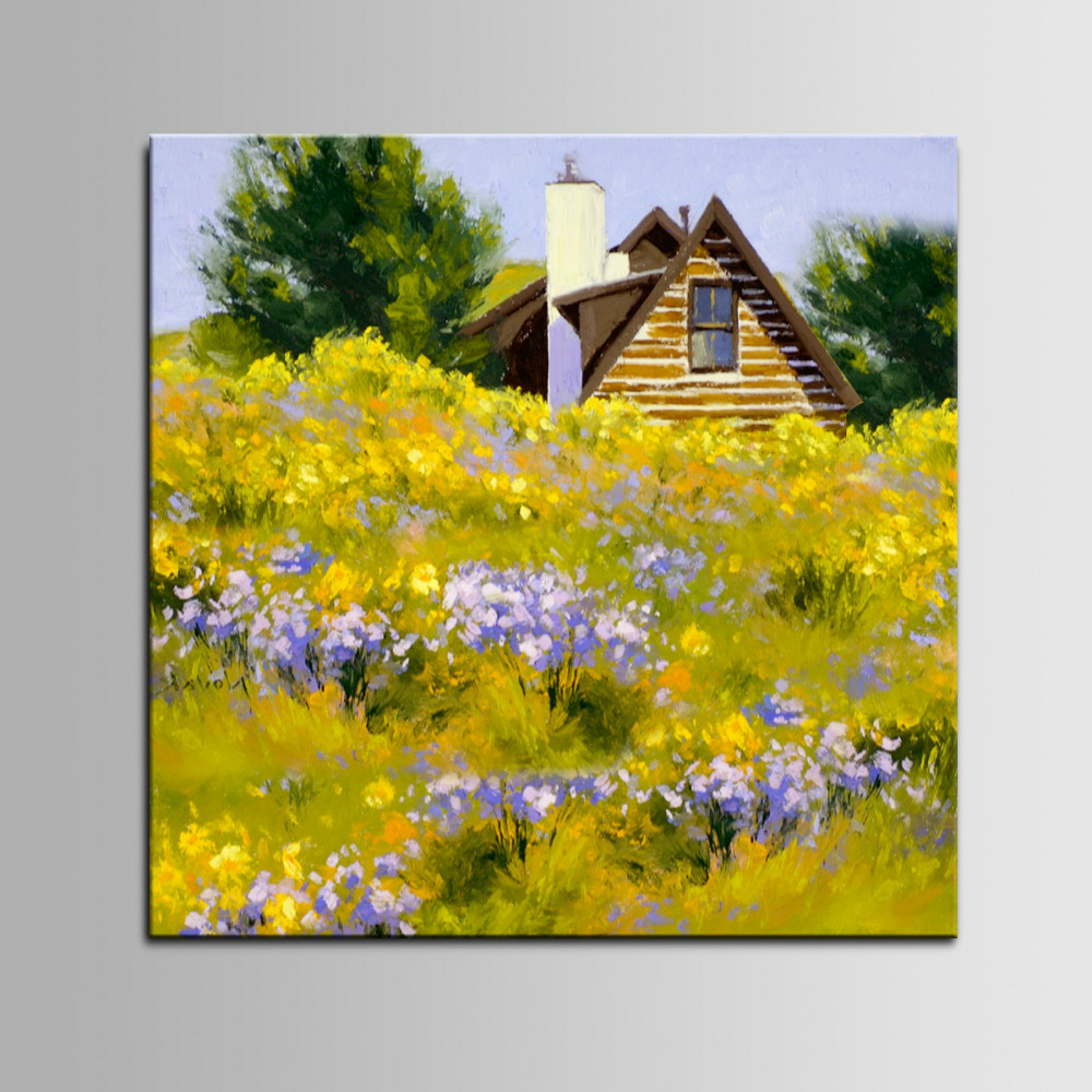 Beautiful Countryside Landscape Flower Scenery Handamde Oil Painting ... for Countryside Landscape Paintings  585eri