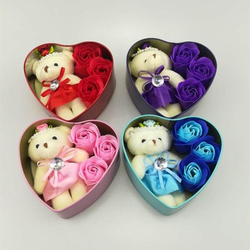 Flower Rose-Soap Teddy Plush-Animal-Toys Gift Heart-Shaped Bear-Doll Romantic Wedding